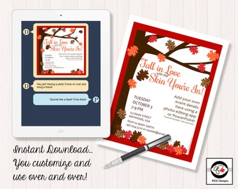 Fall In Love With The Skin You're In - Skincare Invitation - Business Party Invitation - Girls Night In - Girls Night Out - Skincare Party