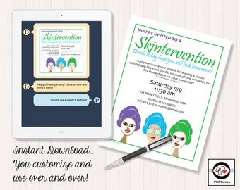 Skintervention Invitation - Business Party Invitation - Skincare Party - Mini Facial Invitation - Facial Party Invitation - Girls Night In