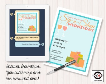 Sip N Shop Wednesday - Business Party Invitation - Pop Up Boutique - Jewelry Business Invitation - Clothing Business Invite - Home Business