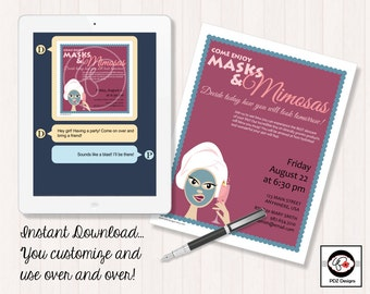Masks and Mimosas - Skincare Party Invitation - Mini Facial Party - Facial Invitation - Skincare Business Invitation - Girls Night In