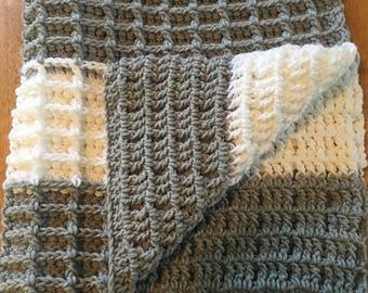 Grey & White waffle stitch crochet blanket