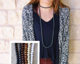 Double wrap long wooden beaded necklace