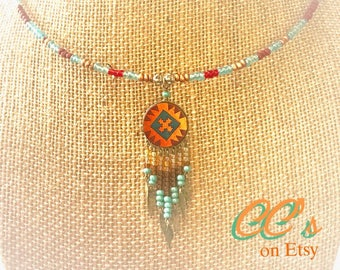 Choker Style Necklace on Memory wire with an Orphan Earring