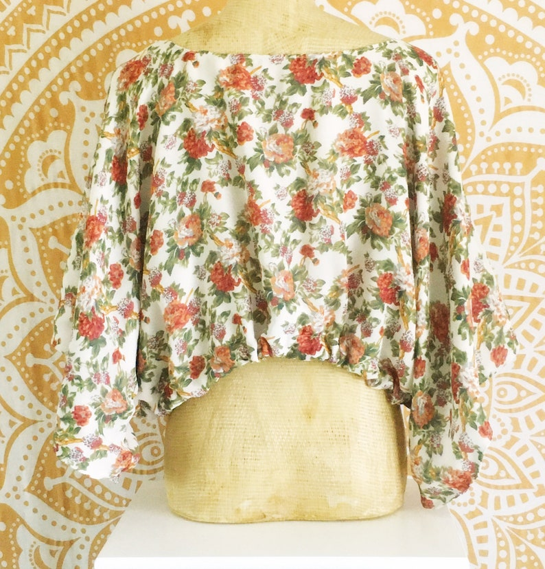 Upcycled Zerowaste Fashion Floral Summer Shirt One Size Fits Most  XSSMLXL Vintage Inspired Blouse Top and Bag Set