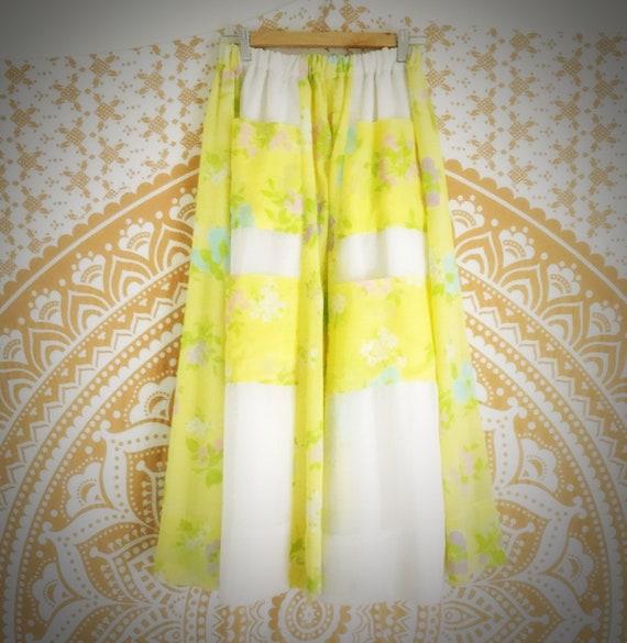 Vintage Patchwork Maxi-Skirt, Summer Bohemian Skir