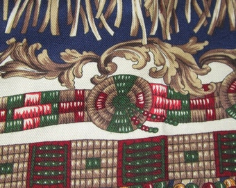 JOHN KALDOR, cotton fabric, multi coloured, tassel bead design, medium weight, 44 inches wide, 80 inches long, Mailed from Canada