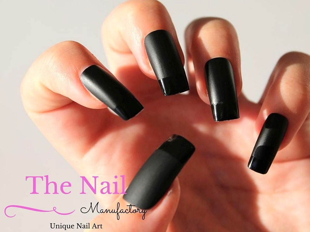 Black Fake Nails - Set of Handpainted French Style Nails in Matte ...