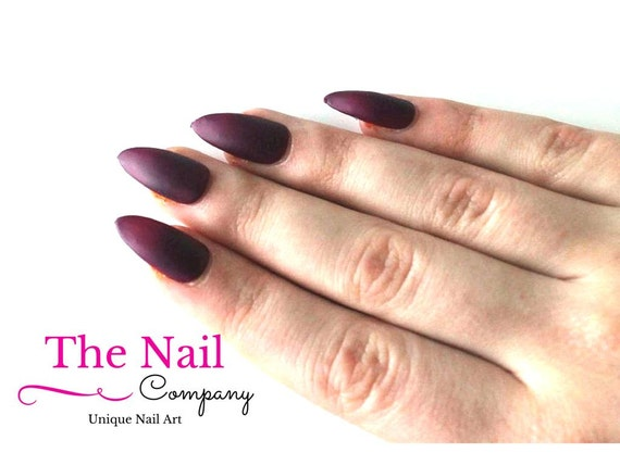 Burgundy Red Matte Stiletto Nails Fake Nails Red Stiletto Etsy