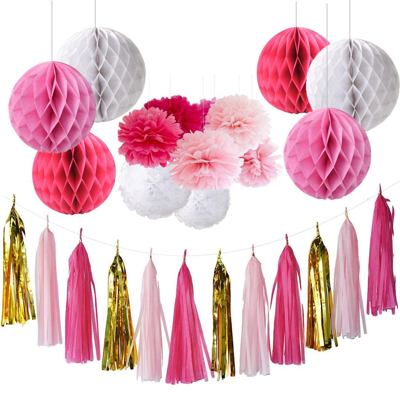 Set of 15 Fuchsia Pink Gold White Party Decoration Kit Tissue | Etsy