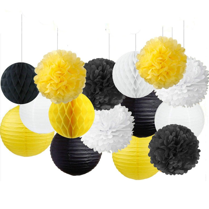 85aeb2b4977d3b Black Yellow Paper Decoration Bumble Bee Birthday Bumble Bee