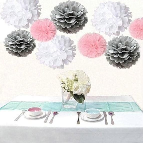 18pcs mixed pink gray white tissue pom poms flower ball girl etsy image 0 mightylinksfo