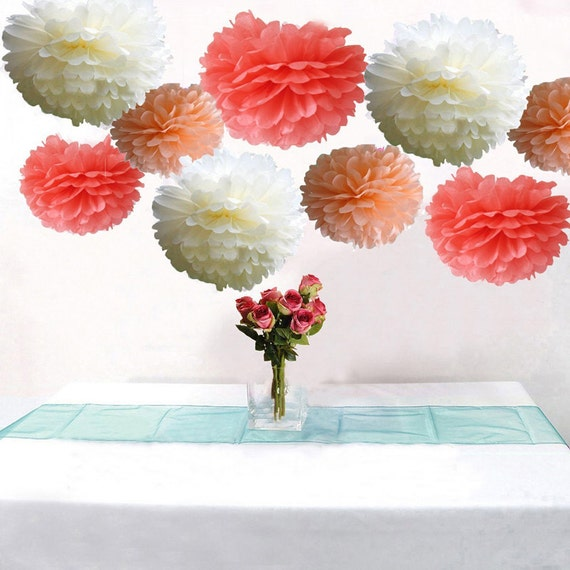 Bulk 18pcs mixed coral peach ivory diy tissue paper flower etsy mightylinksfo