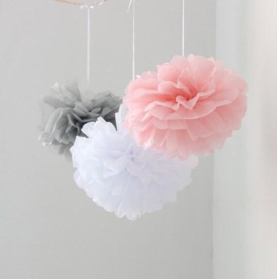 12pcs mixed pink gray white tissue paper flower pom poms etsy image 0 mightylinksfo
