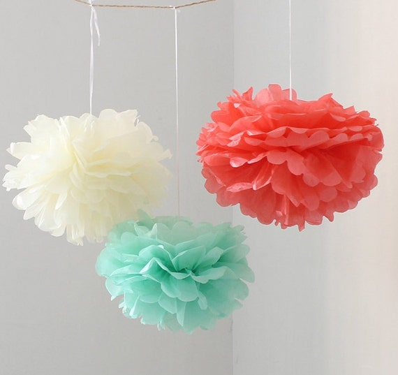 12pcs mixed mint coral ivory diy tissue paper flower pom poms etsy image 0 mightylinksfo