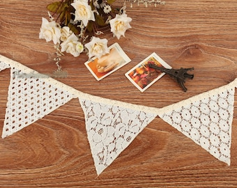 2.5 Meter White Cotton Lace Vintage Floral Embroidery Bunting Banner Rustic Wedding Birthday Party Decoration