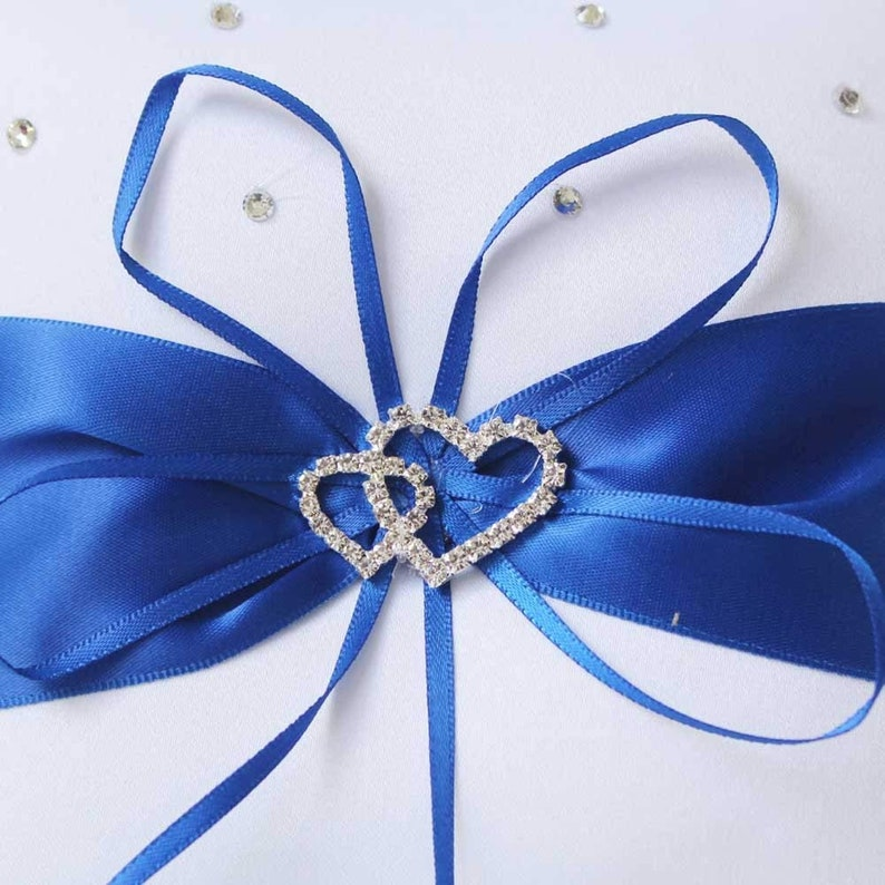 2pcs Beach wedding Flower Girl Basket White and Royal Blue Flower Basket with Double Heart Rhinestone Decor