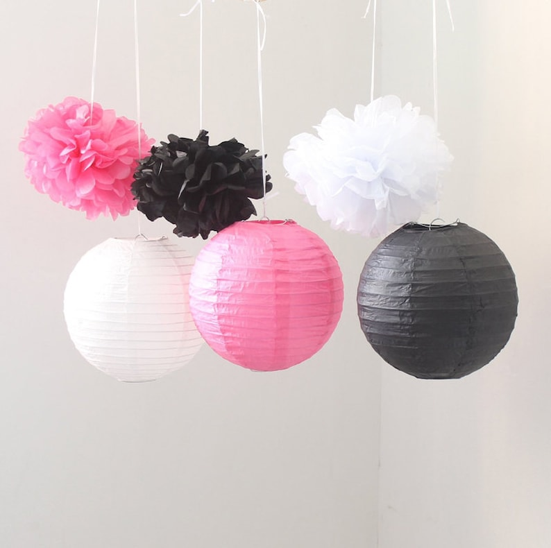 Set of 9 Mixed Black Hot Pink White Tissue Paper Pom Poms and Paper Lantern Wedding Garland Bridal Shower Birthday Party Hanging Decoration
