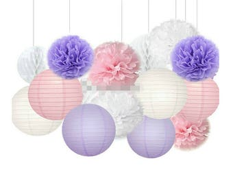 15pcs Girl Baby Shower Decorations Pink Purple White Mixed Tissue Pom Poms Paper Lantern Party Favors Wedding Birthday Decorations
