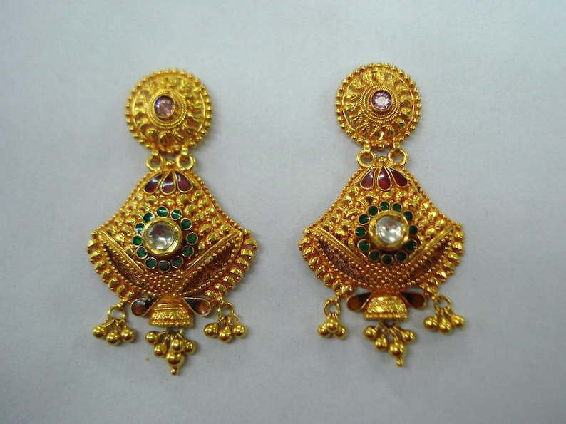 8161a76dbe02f Traditional design 22kt gold Earrings traditional kundan meena jewelry