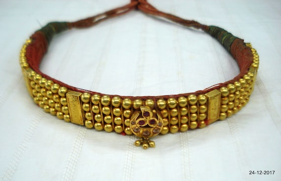 22kt Gold Beads Choker Necklace Vintage Antique Gold Jewelry Etsy