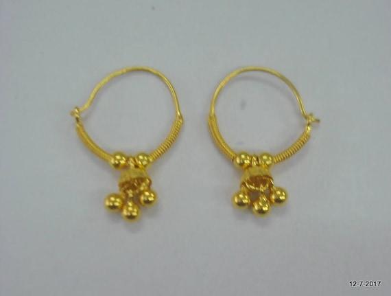 traditional design18kt gold earrings hoop earrings handmade gold earrings