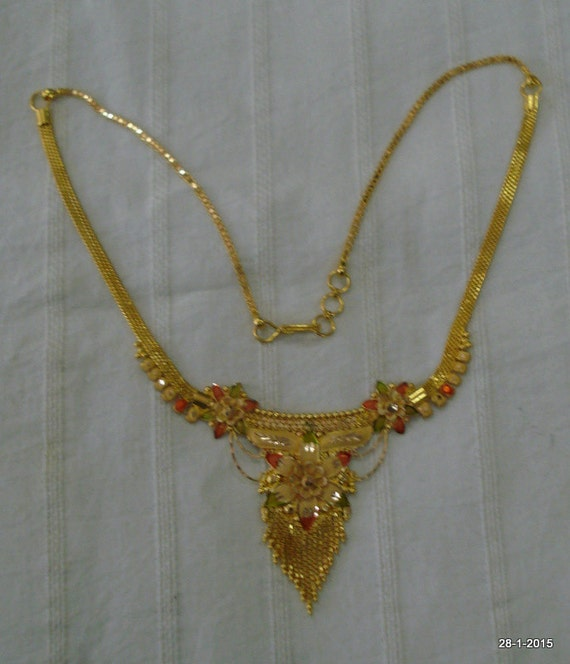 Vintage Antique 22kt Gold Necklace Choker Traditional Jewelry Etsy