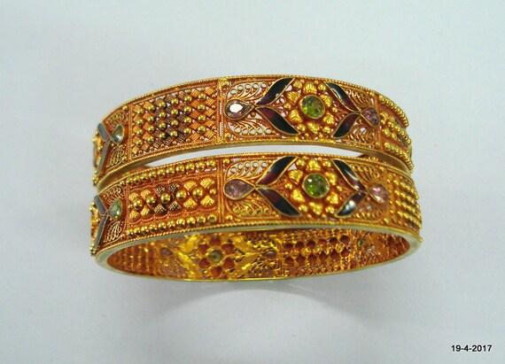 vintage 22kt gold bangle bracelet set 2pc handmade