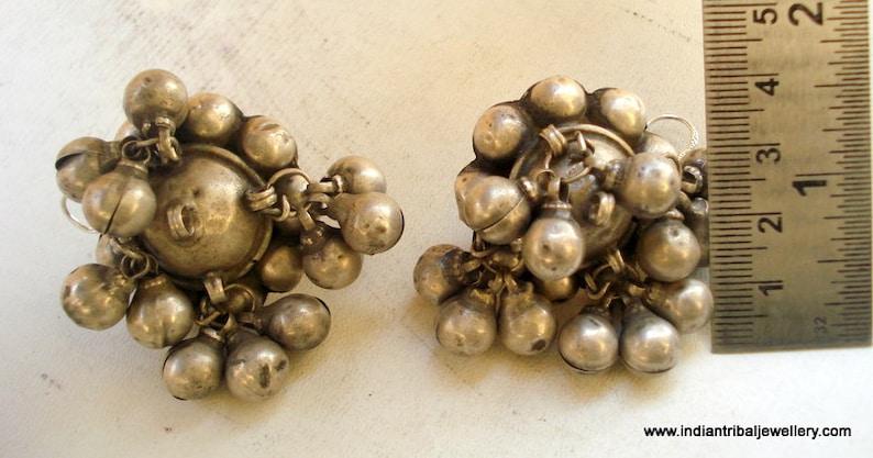 vintage antique old sterling silver ear plug earrings  tribal  belly dance