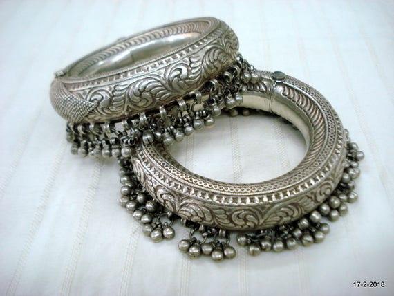 vintage antique tribal old silver anklet kada pair