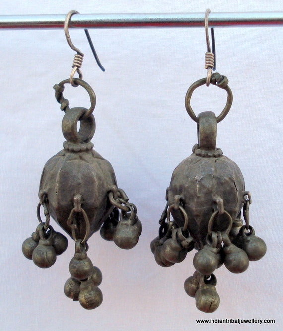 ancient antique tribal old silver earrings traditi