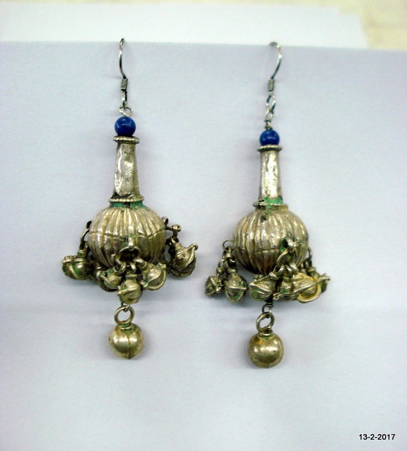 vintage antique ethnic tribal old silver earrings