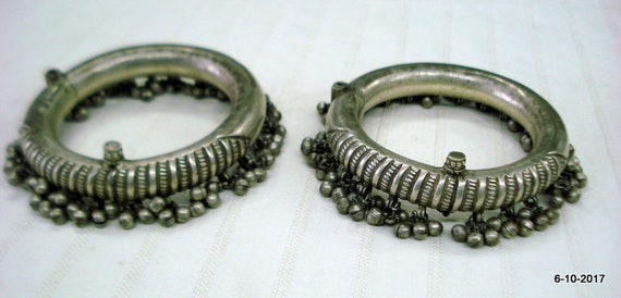 antique tribal old silver anklet kada pair ankle b