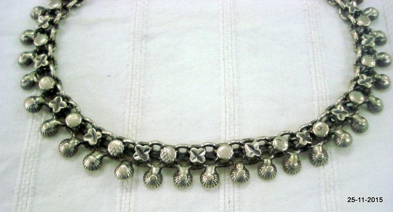 vintage antique tribal old silver anklet feet bracelet ankle chain