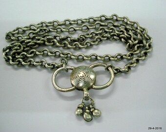 vintage antique tribal old silver necklace chain pendant handmade
