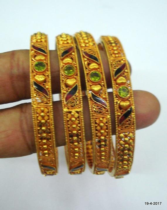 vintage 22kt gold bangle bracelet set 4pc handmade
