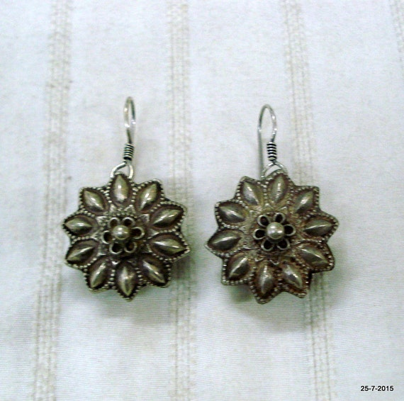 vintage antique tribal old silver ear plug earring