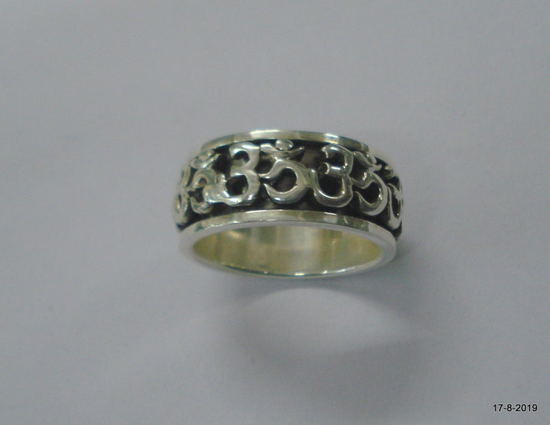 Ethnic Sterling Silver Ring Om Ring Moving Ring Handmade Unisex ring