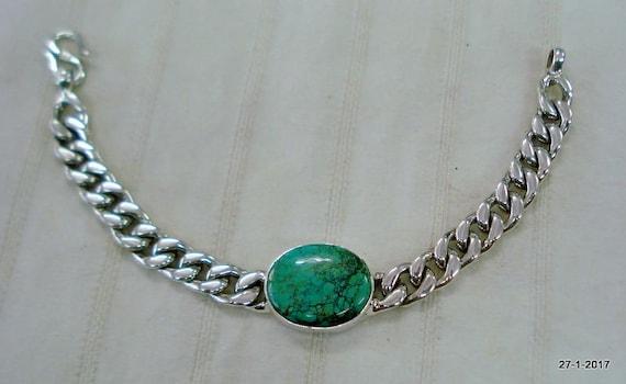 Sterling Silver Bracelet Turquoise Gemstone Salman Khan Style Etsy