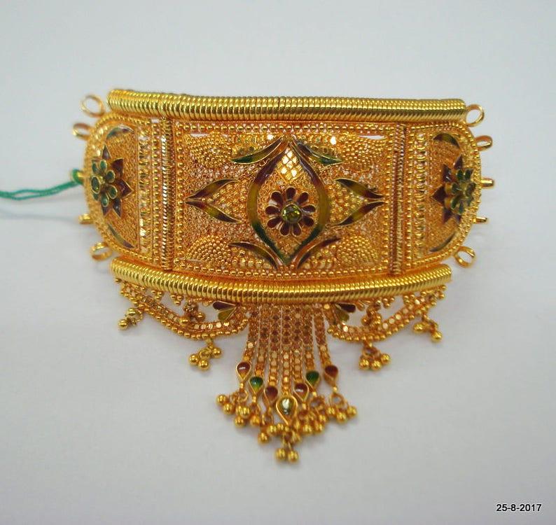 fad84a9ad48b Diseño tradicional 20kt oro brazalete pulsera bajuband brazo