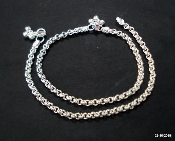 ethnic silver anklet feet bracelet ankle chain ank