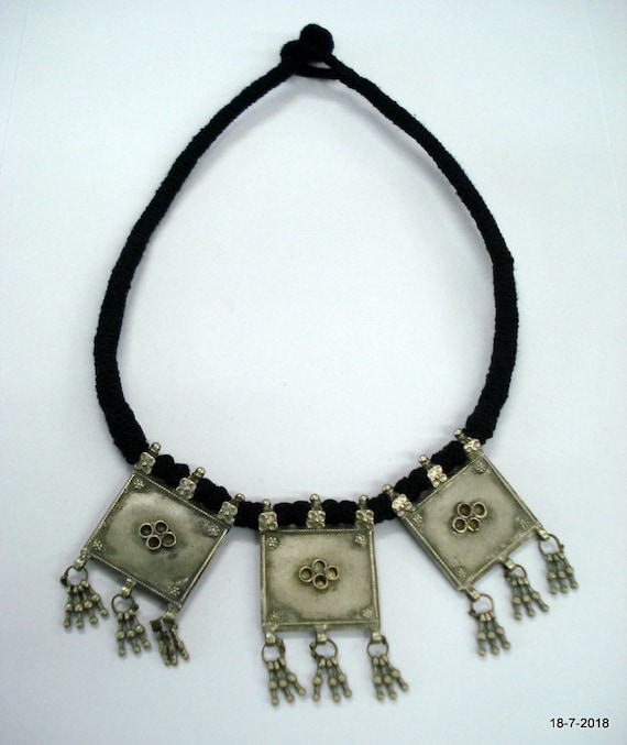 vintage antique tribal old silver necklace choker