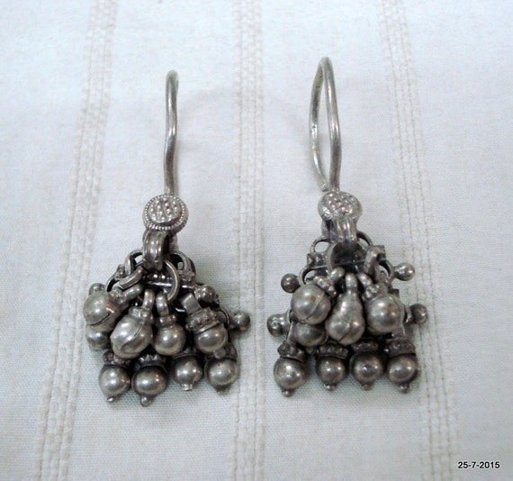 vintage antique tribal old silver earrings traditi