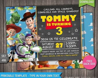 toy story 3 invitation 50 off instant download printable disney toy story 3 invite chalkboard diy personalize print tsin01