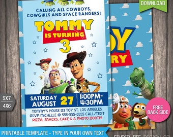 picture relating to Free Printable Toy Story Invitations called Toy tale invitation quick down load Etsy