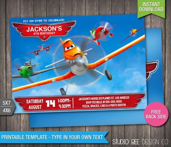 Planes Birthday Invitation Instant Download Printable Etsy