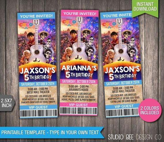 Coco Ticket Invitation Instant Download Printable Disney Coco Birthday Invite Ticket Movie Ticket Diy Personalize Print Coit03