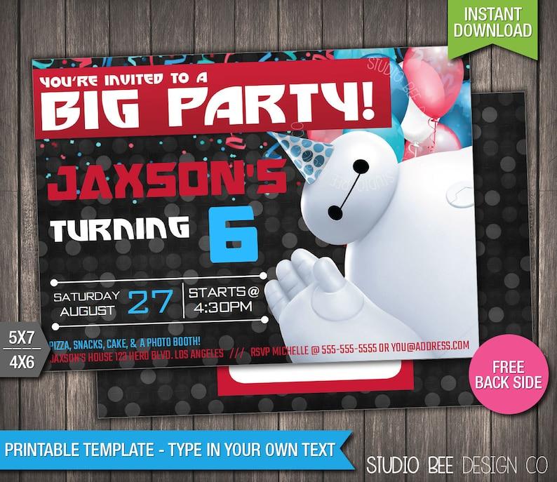 Big Hero 6 Birthday Invitation INSTANT DOWNLOAD Printable