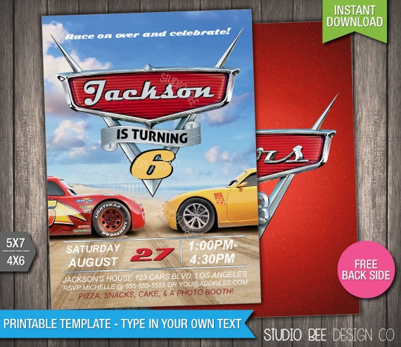 Cars 3 Invite 50 OFF INSTANT DOWNLOAD Printable Disney