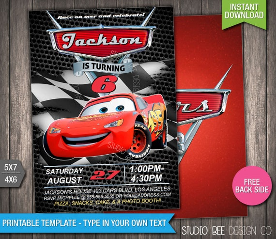 Cars 3 Invite 50% OFF INSTANT DOWNLOAD Printable Disney Etsy