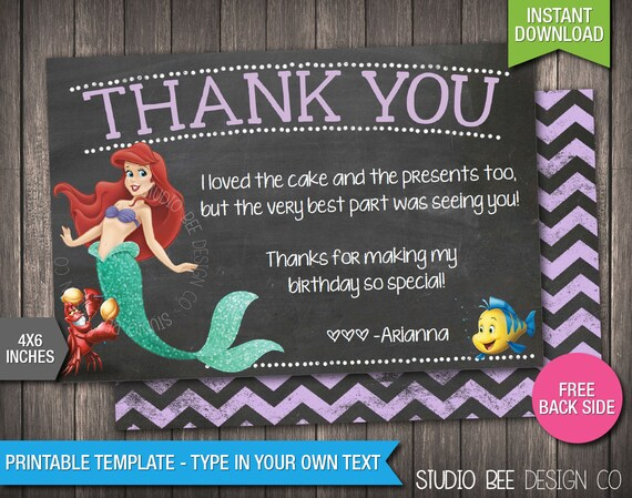 The Little Mermaid Thank You Card Instant Download Etsy
